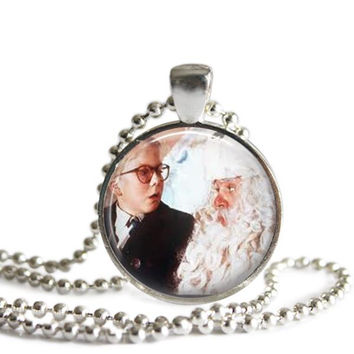 A Christmas Story Necklace Ralphie and Santa Silver Plated Picture Pendant