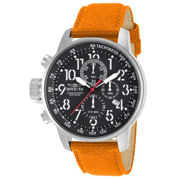 Invicta 11520 Men's I Force Lefty Black Dial Orange Canvas and Leather Strap Chronograph Stainless Steel Watch