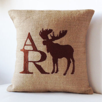 Custom Monogram Decorative Pillow Case- Natural Burlap Pillows with Moose and Letters- Back to School Graduation Birthday Gifts 16x16