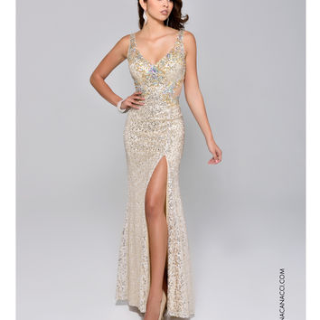 Nina Canacci 8043 Gold Sequin High Slit from Unique Vintage