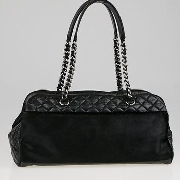 Chanel Black Quilted Leather and Pony Hair Large Tote Bag