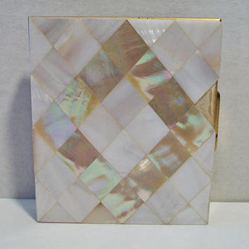 Vintage Mother of Pearl Mosaic Powder Compact White Iridescent Shell Vanity Purse Accessories