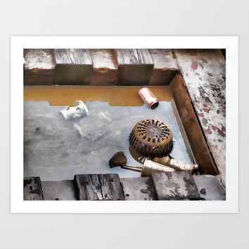 Litter on the subway tracks Art Print by lanjee