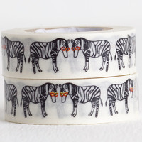 Zebra Washi Tape, Retro Funky Zebras in Red Sunglasses 15mm x 10m
