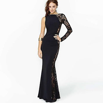 Black One Long Sleeve Lace Embroidered Fishtail Bodycon Maxi Dress