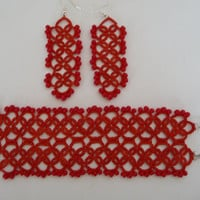 Red tatting earrings and bracelet - Handmade jewerly - gift for her - Weddings