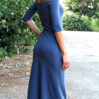 Eco Friendly Cocktail Maxi Tight Long Cocktail Strapless Dress Off Shoulder In Blue By Cvetinka