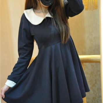 Vintage Fancyqube Peter Pan Collar Doll Collar Slim Fit Long Sleeve Dress Women