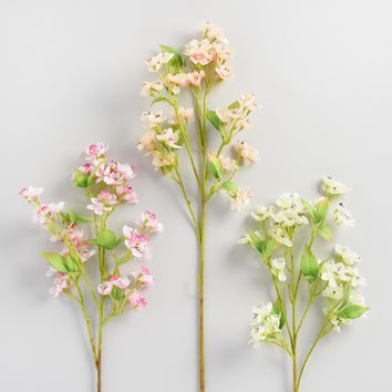 Faux Peach Blossom Stems Set of 3