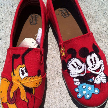 Mickey and Minnie Mouse Disney Custom hand painted acrylic canvas Shoes