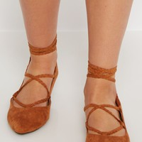 Cognac Braided Lace-Up Ballet Flat   Pointed Toe   rue21
