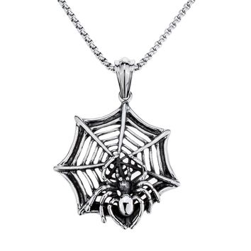 Yacq spider web necklace pendant W chain stainless steel animal charm jewelry gifts for men dad boyfriend him silver color E009