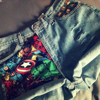 The AVENGERS Marvel High Waist Studded Cuffed Jean Shorts