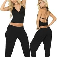 Sexy Black Gypsy Style Pocket Pants - Medium