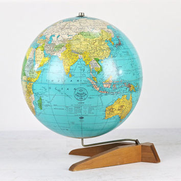 Vintage Globe, Mid Century Globe, Mid Century Modern, Antique Globe, Globe From The 1950's, World Globe, Desk Globe, World Map Globe