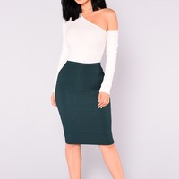 Constance Pencil Skirt - Hunter Green