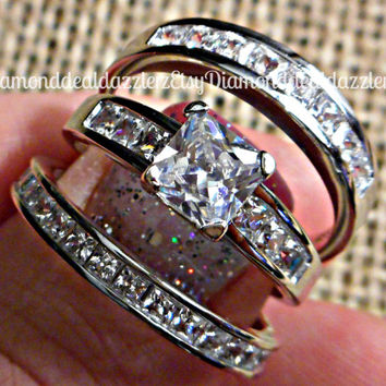 Solid .925 Sterling Silver Princess Square cut Simulated White Sapphire Engagement Ring 3pc Three Wedding Band Bridal Set Size 5,6,7,8,9