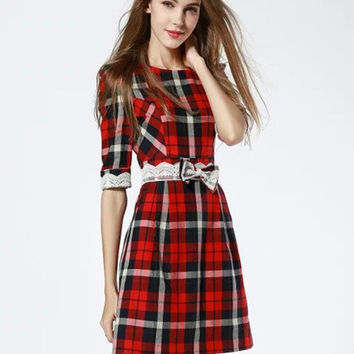 Plaid Waist Bow Tie and Lace Accent Mini Dress