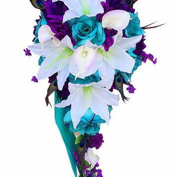 Cascade Silk flower bouquet-Jade Purple White with Peacock Feather