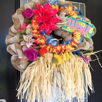 Luau Decoration, Luau Wreath, Burlap Wreath, Spring Wreath, Summer Wreath, Door hanger