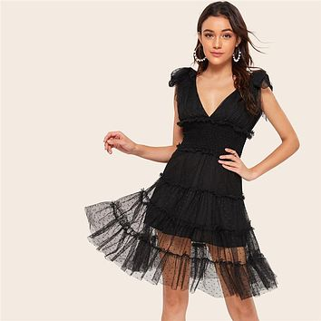 Shoulder Knot Plunging Neck Mesh Lace Dress Women Romantic Sleeveless Deep V Neck Midi Dress A Line Dress