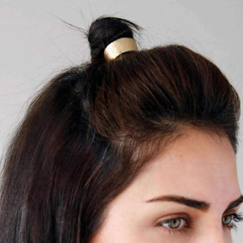 Reversible gold leather bun cuff double sided in black bun wrap- leather topknot wrap- gold hair cuff- topknot holder- hair accessories- new