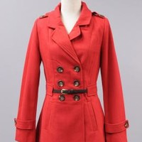 Good Tidings Double Breasted Belted Waist Peacoat in Red | Sincerely Sweet Boutique