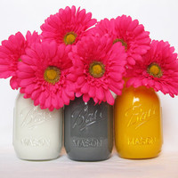 Painted Mason Jars - Set of three, painted inside