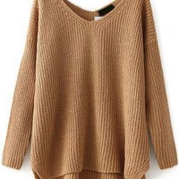 V neck High-Low Splits Sweater - OASAP.com