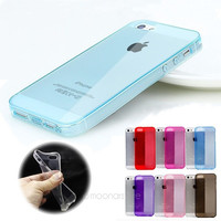 Soft Candy Color Crystal Case Cover TPU Silicone Protector Skin for iPhone 5 5s with Pluggy = 1958788484