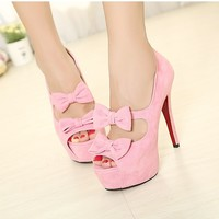 Sweet Solid Peep Toe Bowknots Decor PU High Heels Women Shoes