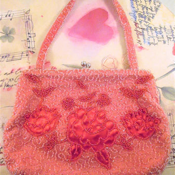 Pink Floral Bead Purse FRANCES HIRSCH Belgium Hand Made Evening Bag Wedding Something Old Art Nouveau Deco