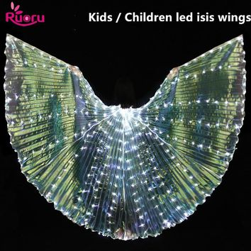 Ruoru Children Led Isis Wings Belly Dance Accessories Kids White Led Isis Wings Stage Performance Props Shining Led Wings 360