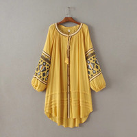 Vintage Tribal Holiday Yellow or Red New Style Embroidered Pleated Long Loose Style Tunic Dress