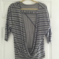 Grey And Navy Striped Backless Shirt  (Small/Indie Brands)