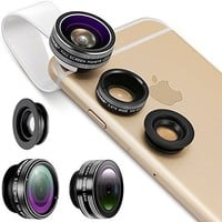 Camera Lens, Vinsic® Universal Detachable 180°Fish Eye Lens Wide Angle Lens Micro Lens 3 in 1 Camera Lens Kits for iPhone 6 6s plus 5 5s 5c 4s ipad
