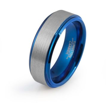Blue Wedding Ring Tungsten Carbide Mens Wedding Band Brushed 8mm Tungsten Ring Blue Silver Ring Man Engagement Ring Anniversary Promise Matching Set