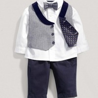 Boys Welcome to the World Four Piece Vest Outfit Set