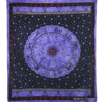 Purple Indian Astrological Horoscope Cotton Tapestry Wall Hanging
