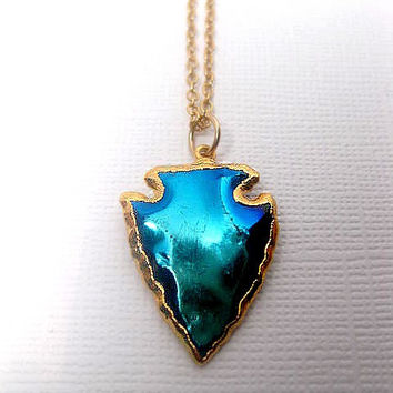 Smaller Titanium Aura Arrowhead Necklace - 24k Gold Electroplated trim - Long Necklace Length options - Mystic Blue - Peacock - Blue Green