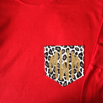 LONG SLEEVE Monogram Leopard Print Pocket T-Shirt Womens