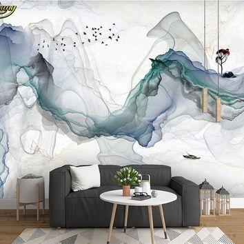 beibehang wall paper Custom photo wallpaper mural zen mood abstract ink landscape wall decorative painting papel de parede