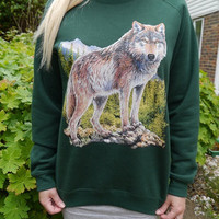 Wildlife Lone Wolf jumper, Wolf sweatshirt, Wolf sweater, wolves, unisex, retro,animal, nature, new