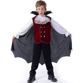 DCCKH6B Children Halloween Cosplay Costumes Kids Prince Clothes Suits Vampire Boy Girl Clothing Birthday Fancy Party Kids Cosplay Dress