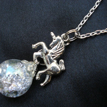 Unicorn Fantasy Crystal Crackle Glass Marble Chain Necklace