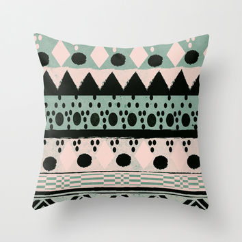PASTEL NORDIC TRIBAL  Throw Pillow by Nika