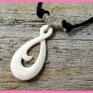 Leather Surfer Necklace With Maori Koru pendant Carved Bone New Zealand Jewelry