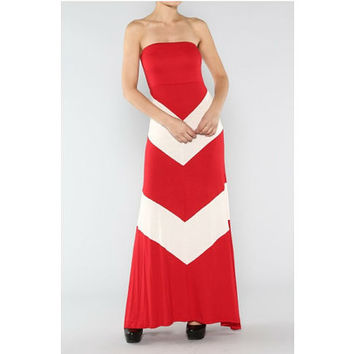 Red and White Chevron Strapless Maxi Dress
