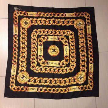 Vtg Bl Chanel Black Scarf With Yellow/ Gold Chain Pattern