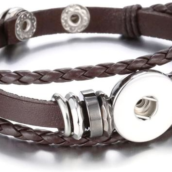 Brown With Silver Beads DIY Leather Bracelet Multiple Colors for 18MM - 20MM Snap Jewelry Build Your Own Unique